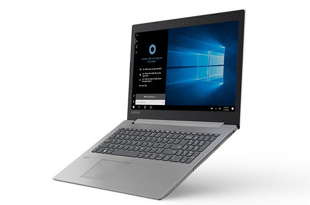IdeaPad 330 angld to left showing Cortana dialog box
