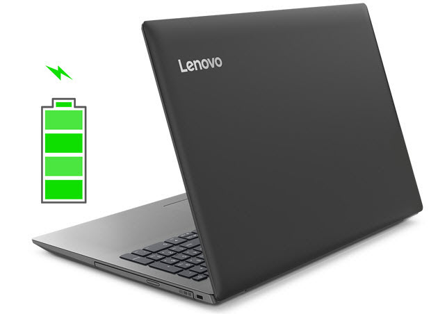 the left back view of IdeaPad 330 and a green battery icon