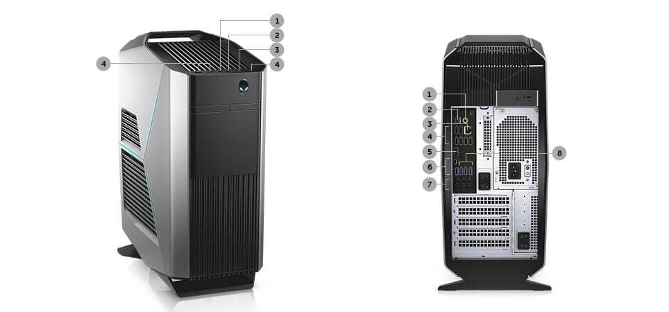 DELL Gaming Desktop Alienware Aurora R7 AWAUR7-7019SLV Intel Core i7 8th  Gen 8700 (3 20 GHz) 16 GB DDR4 1 TB HDD 256 GB SSD NVIDIA GeForce GTX 1070