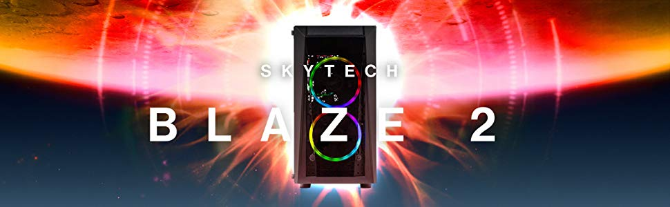 SkyTech Blaze II Gaming Computer PC Desktop – Ryzen 5 2600 6-Core 3 4 GHz,  NVIDIA GeForce GTX 1660 6G, 500G SSD, 8GB DDR4, RGB, AC WiFi, Windows 10