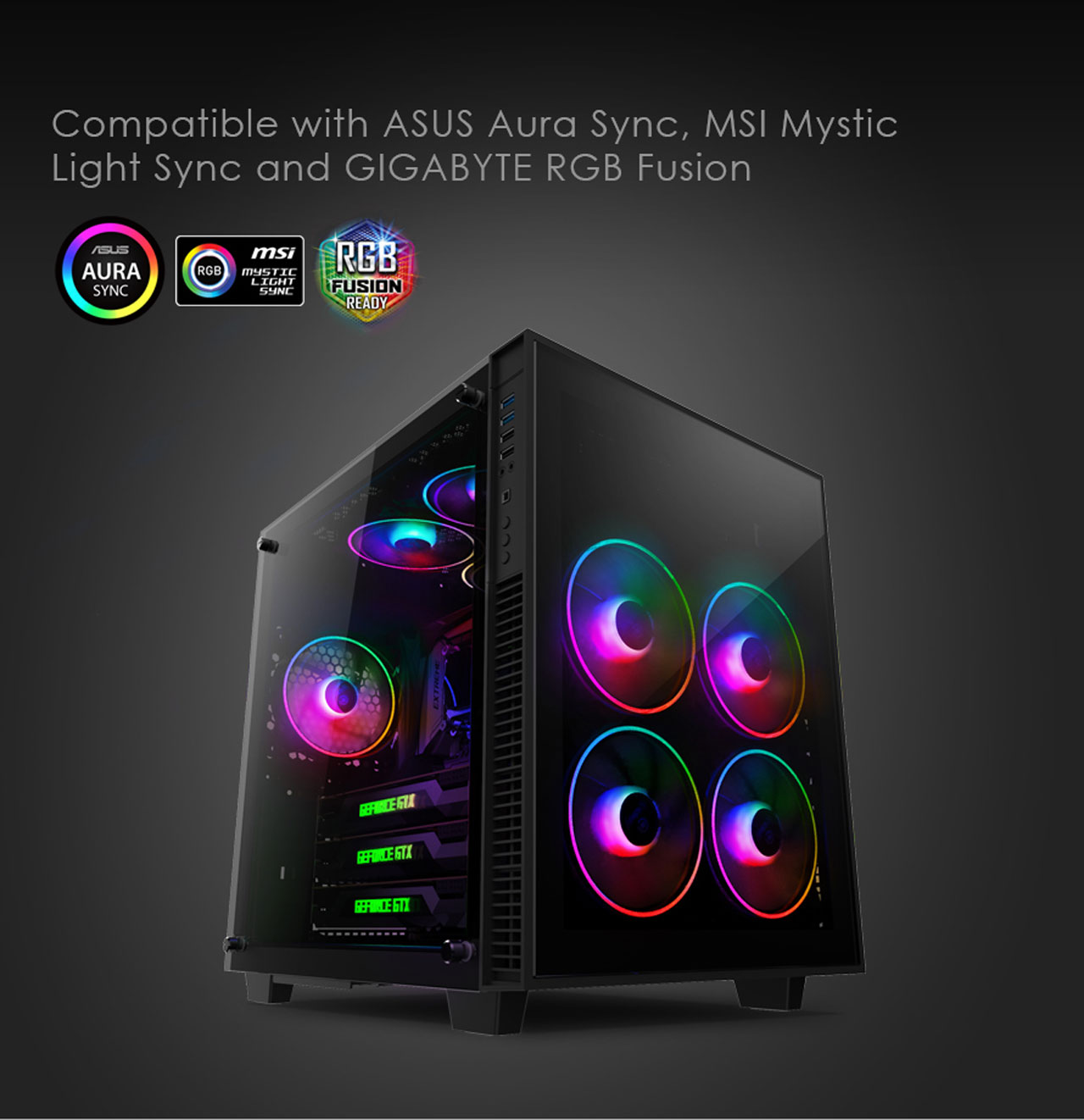 anidees AI Tesseract 120mm 3pcs RGB PWM Fan compatible with ASUS Aura  SYNC/MSI Mystic Sync/GIGABYTE Fusion, controlled by 5V 3pins RGB Header on  MB,