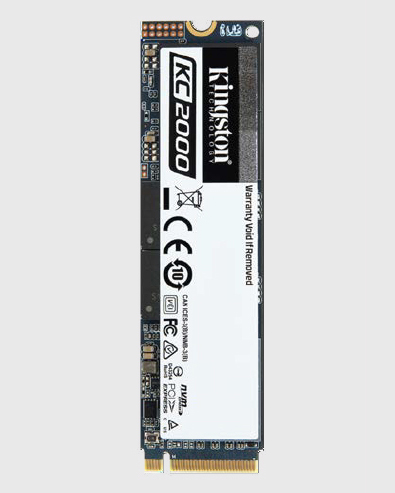 Kingston KC2000 NVME PCIe SSD Standing Up Vertically