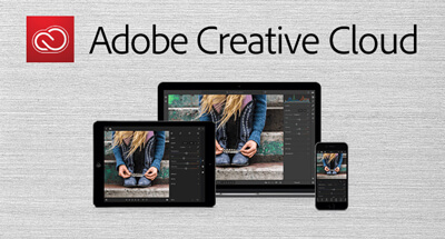 Adobe Creative Cloud with a smartphone, a tablet and a laptop