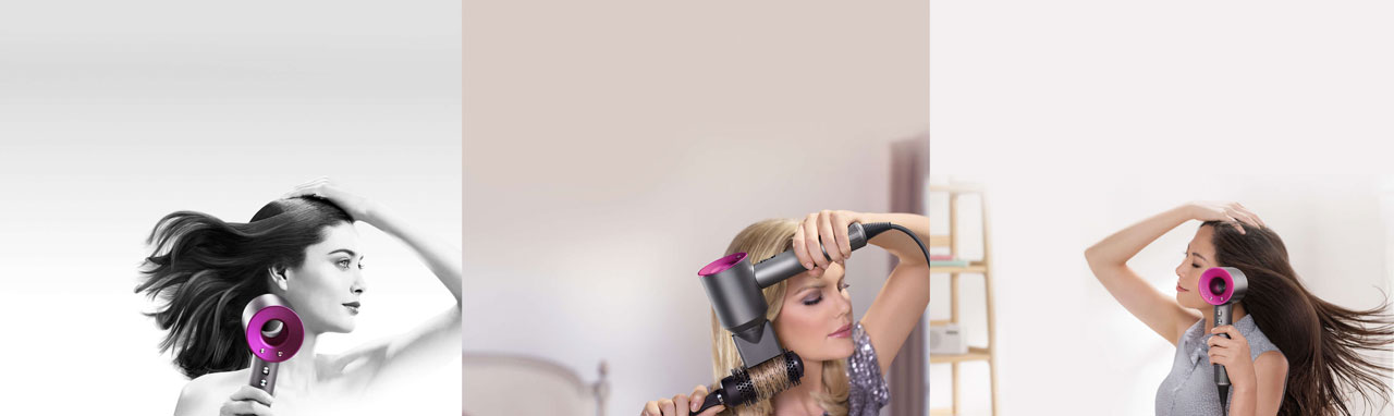 Three females, each holding a Supersonic hair dryer dressing up their hair