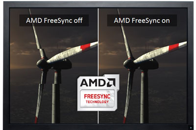 A monitor screen showing comparison of AMD FreeSync on and off
