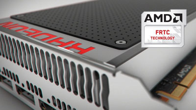 Partial view of a graphics card, with a logo of AMD FRTC technology next to it