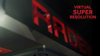"Blurred Radeon logo with texts reading as ""Virtual Super Resolution"" next to it"