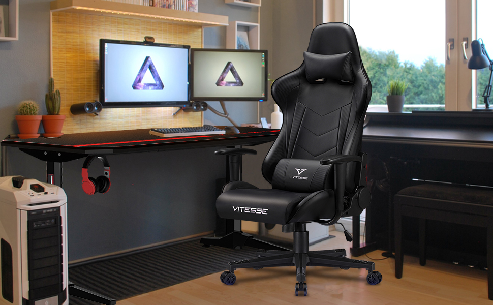 Gaming room with the vitesse gaming desk