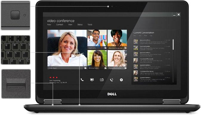 نمای جلوی Latitude E7240 باز شده ، با صفحه نمایش یک کنفرانس ویدیویی. در سمت چپ آن ، نزدیک دوربین ، صفحه کلید و حسگر اثر انگشت قرار دارد