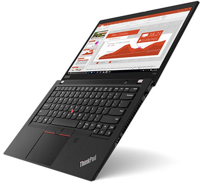 Front right side angle view of the ThinkPad T490, with screen fully opened flat