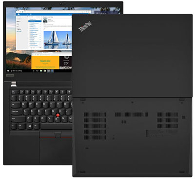 Front and rear views of two ThinkPad T490s, with screen fully opened flat