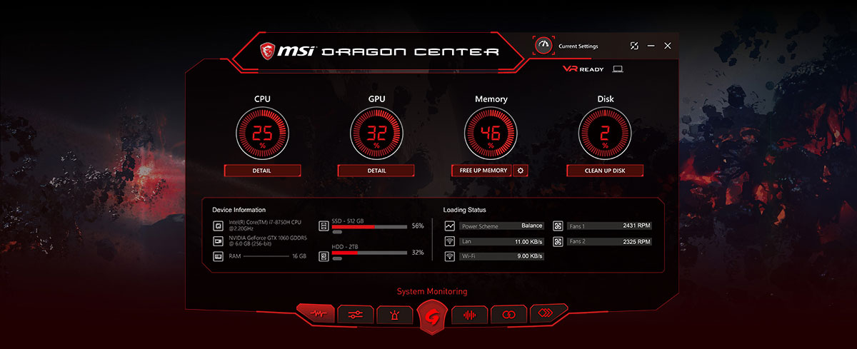 Screenshot of the Dragon center utility software