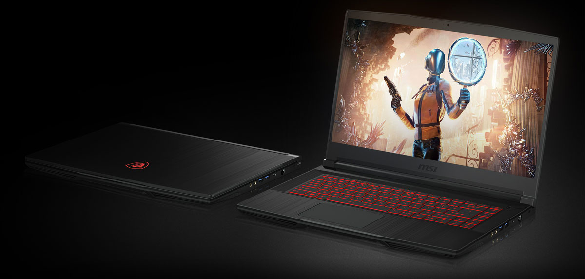 Top right side angle view of two MSI GF63 THIN 9SC laptops, with the left one's screen closed, and right one's screen opened and showing a game scene