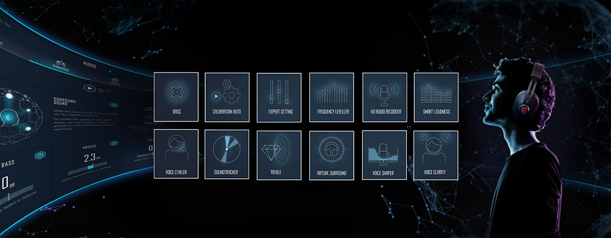At the right of the picture is the profile of man wearing a headset. In the middle of the picture are icons of various settings. The background is a starry sky