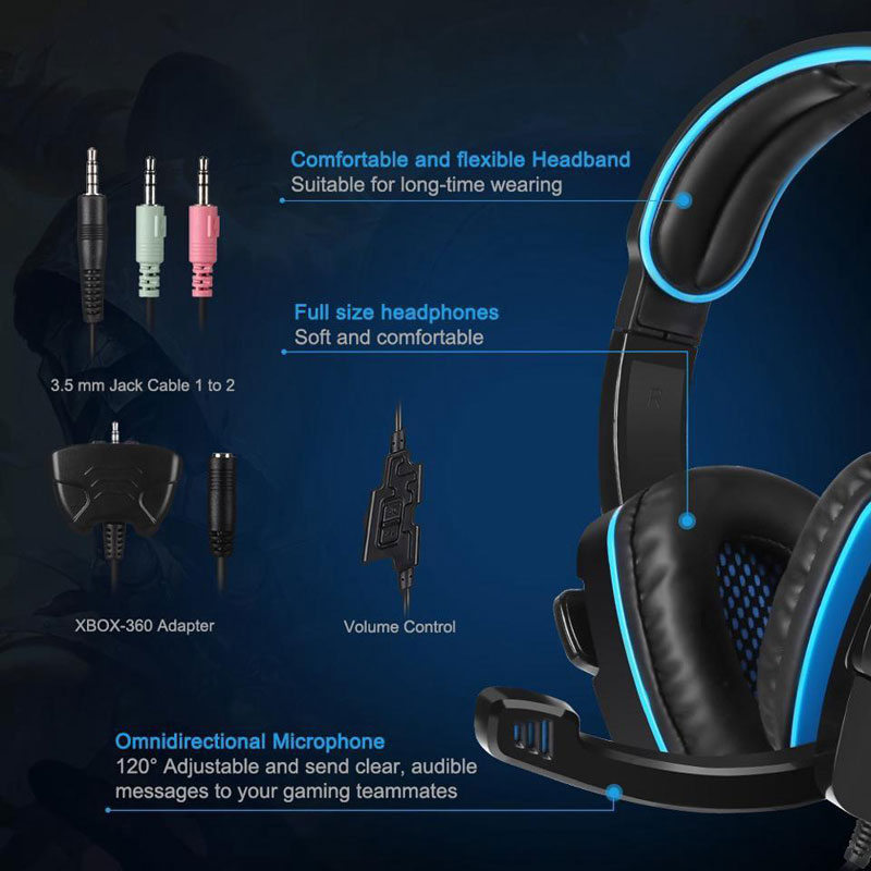 SADES SA 708GT Version Stereo Gaming Headset Over Ear Computer Headphone  with Mic For PC/Mac/PS4/iPad - Newegg com
