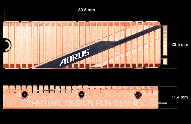 Forward facing and side profile of the GIGABYTE AORUS SSD with text and graphics indicating that the device 80.5mm in width, 23.5mm in height and 11.4mm in depth