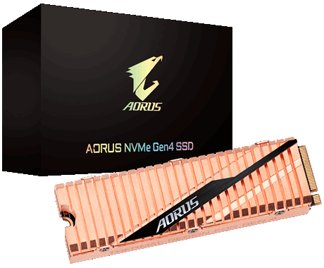 GIGABYTE AORUS SSD in Front of Its Product Box