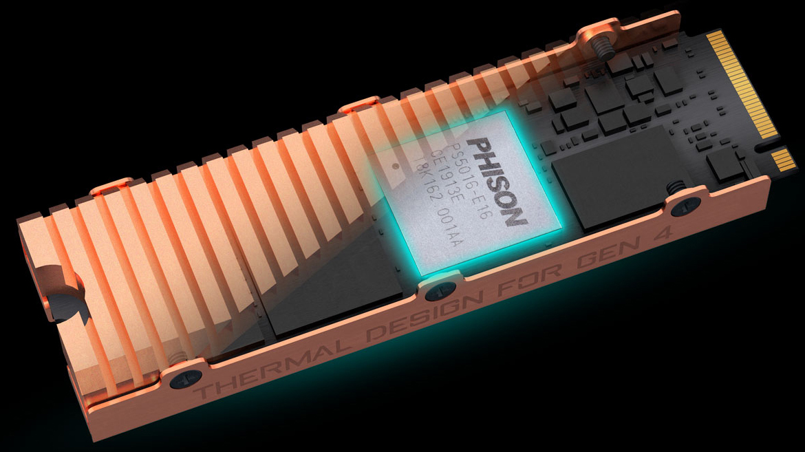 GIGABYTE AORUS SSD Angled Up to the Left, with half of its surface transparent to show the chipset inside