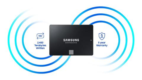 The Samsung SSD facing forward in between circled graphics and graphics + text that indicate: 2,400 teraybytes written and 5-year warranty