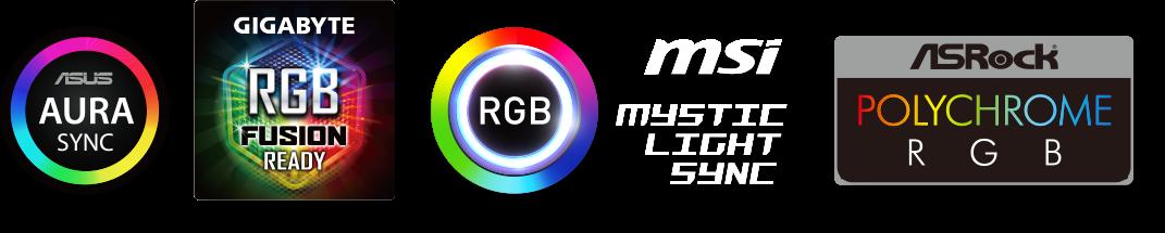ASUS Aura Sync, GIGABYTE RGB Fusion Ready, MSI Mystic Light Synch, RGB and ASRock Polychrome RGB badges