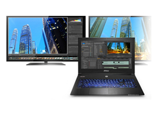 Open Laptop Facing Forward with a Video Editing Software Timeline window open and two monitors facing forward behind the laptop