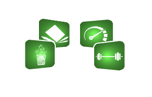 Green Icons for Recycling, Speedometer, Weights and Shock-Resistance