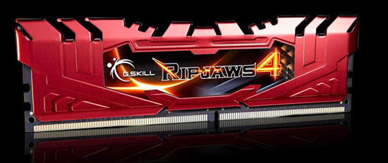 Red G.SKILL Ripjaws 4 Memory Stick Angled to the Right Slightly