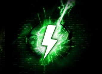 Power Efficient Green Lightning Bolt Icon Graphic