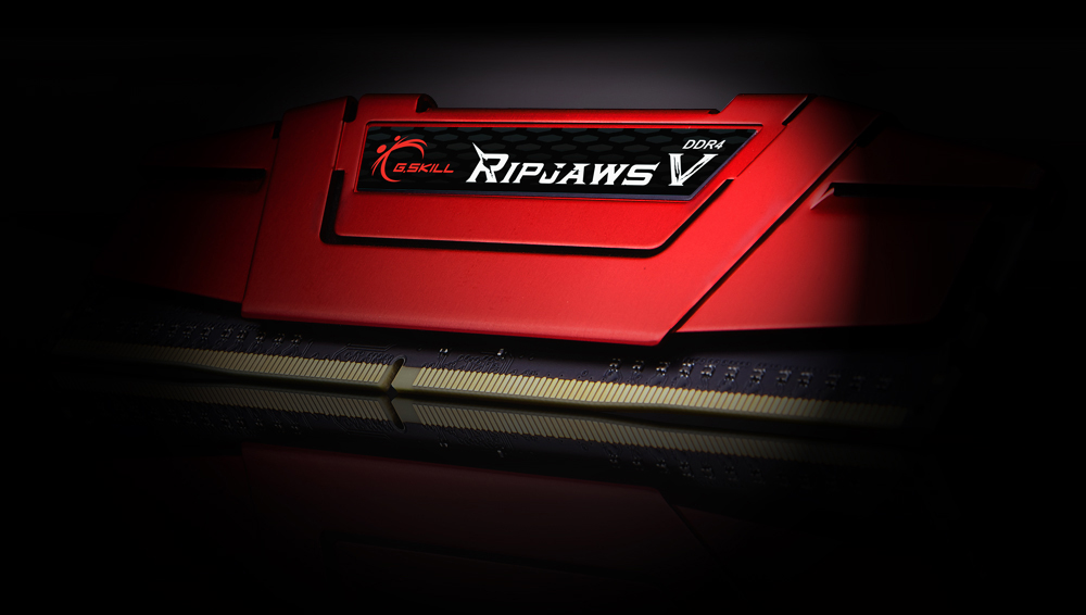 Front tilt view of the G.SKILL Ripjaws V in red heat spreader, showing a close up of the logo label