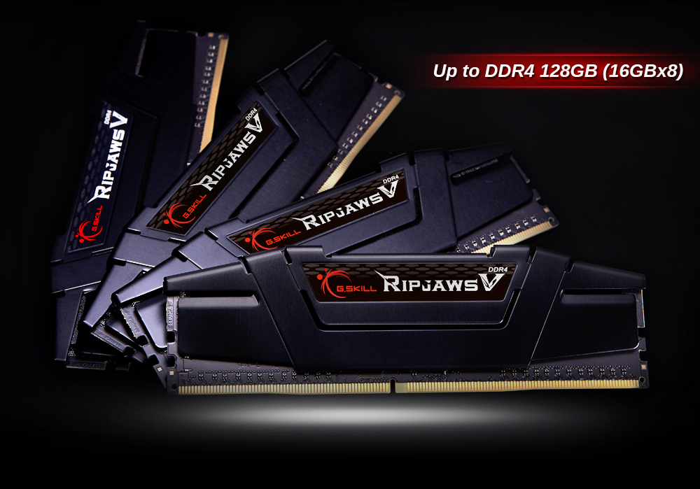 "Four G.SKILL Ripjaws V in black heat spreader arranged in a sector shape, with texts at top right corner reading as ""up to DDR4 128G  (16GBx8)"""
