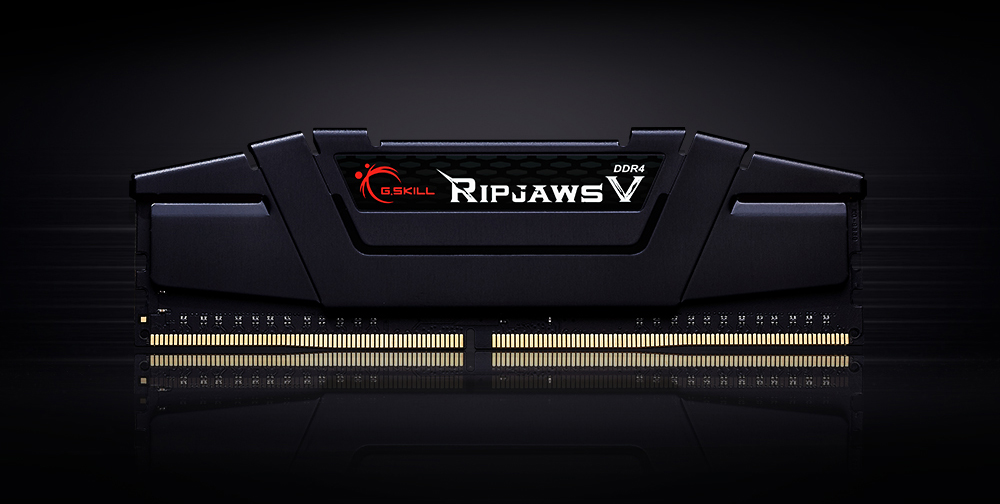 Front view of the G.SKILL Ripjaws V in black heat spreader in standing position