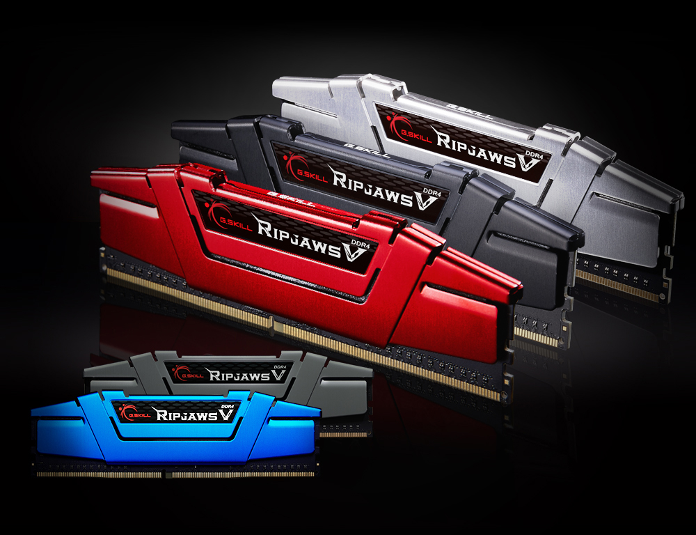 Multiple G.SKILL Ripjaws V memory modules on display, with different colored heat spreader