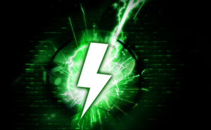 Green graphic with a lightning bolt