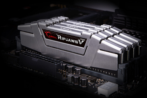 gray Ripjaws V series modules installed on the motherboard