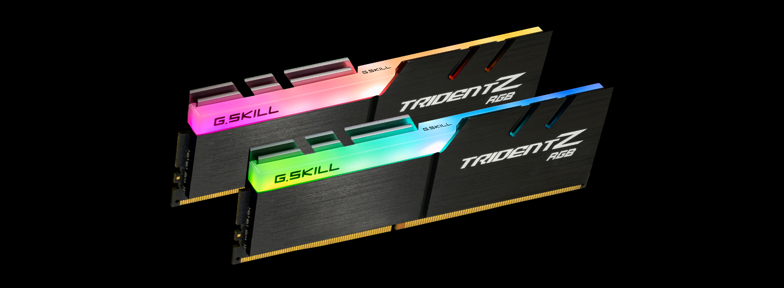 two tridentz rgb exceptionally engineered memory modules angled down to the right