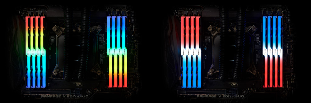 Four Overhead Instances of TridentZ RGB Memory Installed on a Motherboard with Different RGB Lightings