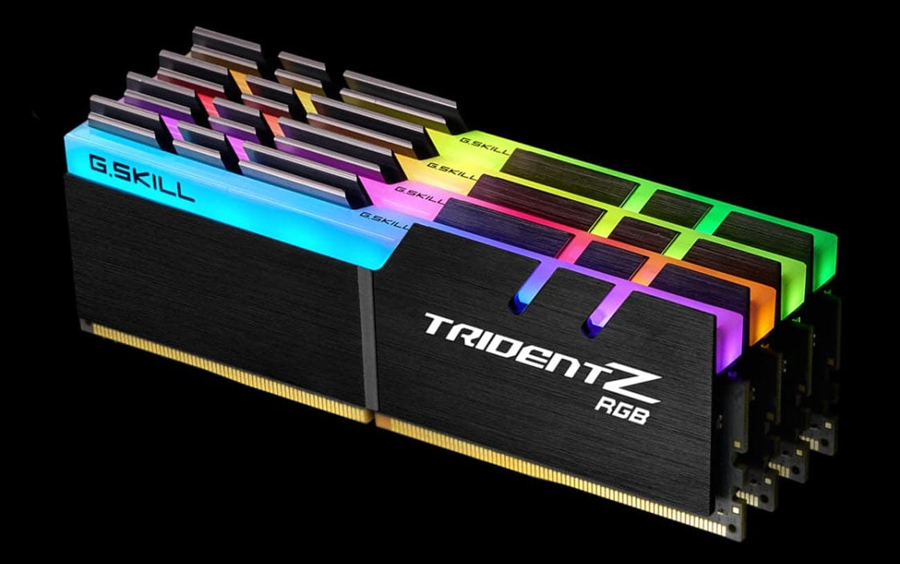 four TridentZ RGB memory modules in four different RGB colors