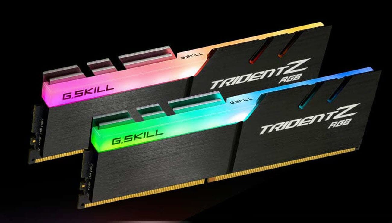 two TridentZ RGB memory modules in red and green color