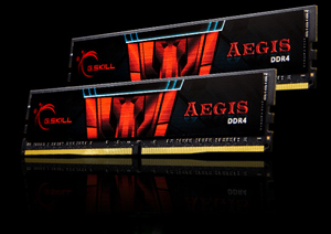 Two G.SKILL AEGIS DDR4 Memory Modules Angled to the Left