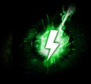 Green Lightning Bolt Icon Graphic
