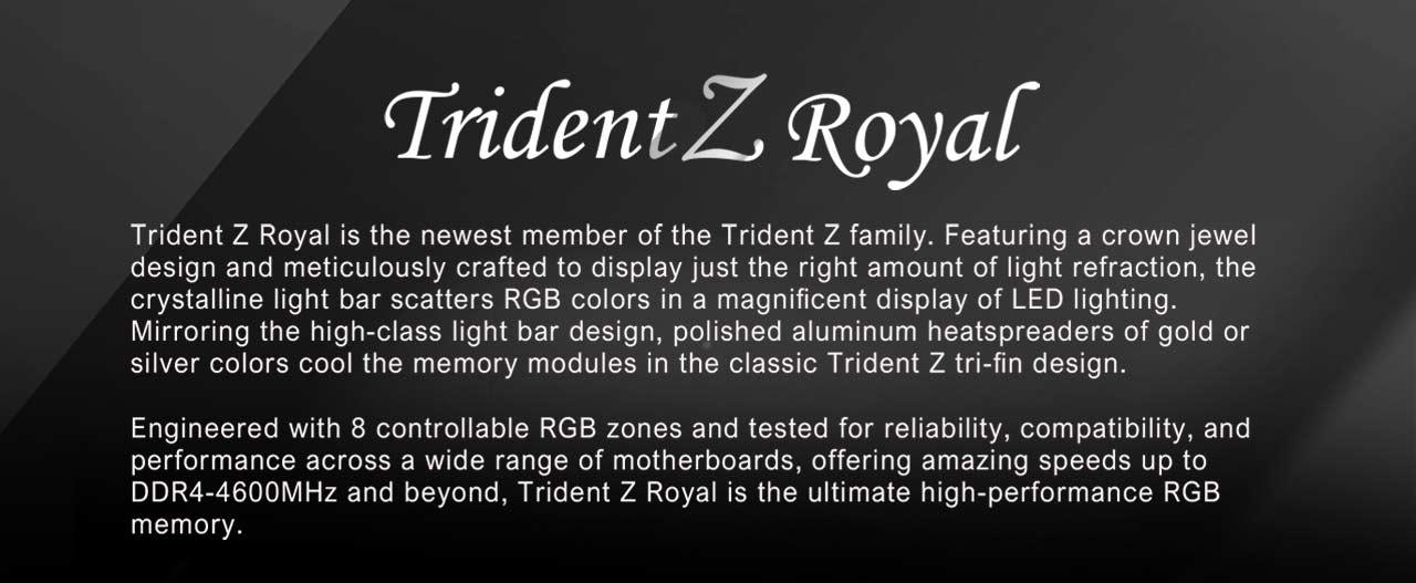 G SKILL Trident Z Royal Series 16GB (2 x 8GB) 288-Pin RGB DDR4 SDRAM DDR4  3200 (PC4 25600) Desktop Memory Model F4-3200C16D-16GTRS - Newegg com