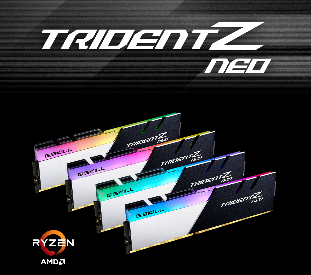 G.Skill TRIDENT Z NEO Banner with 4 Sticks of Memory Angled Down to the Right, Next to the Ryzen and AMD Logo