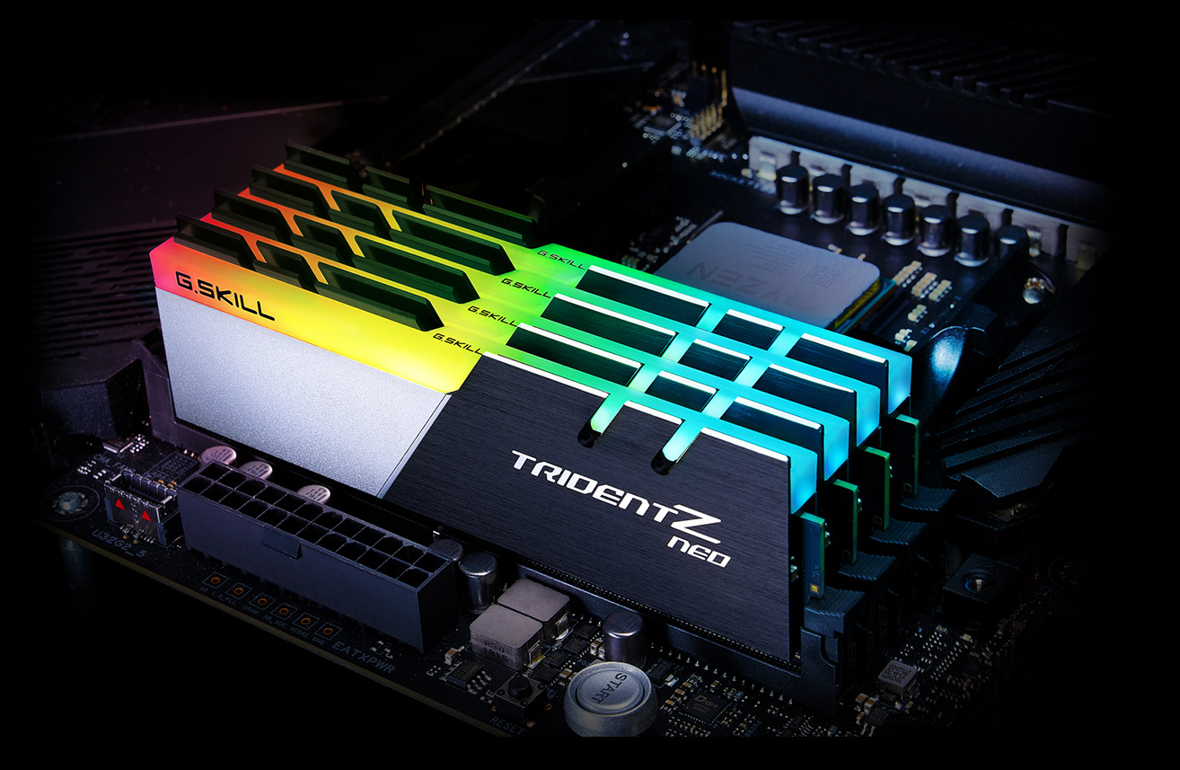 Four G.Skill Trident Z Neo Memory Modules Installed on a Motherboard