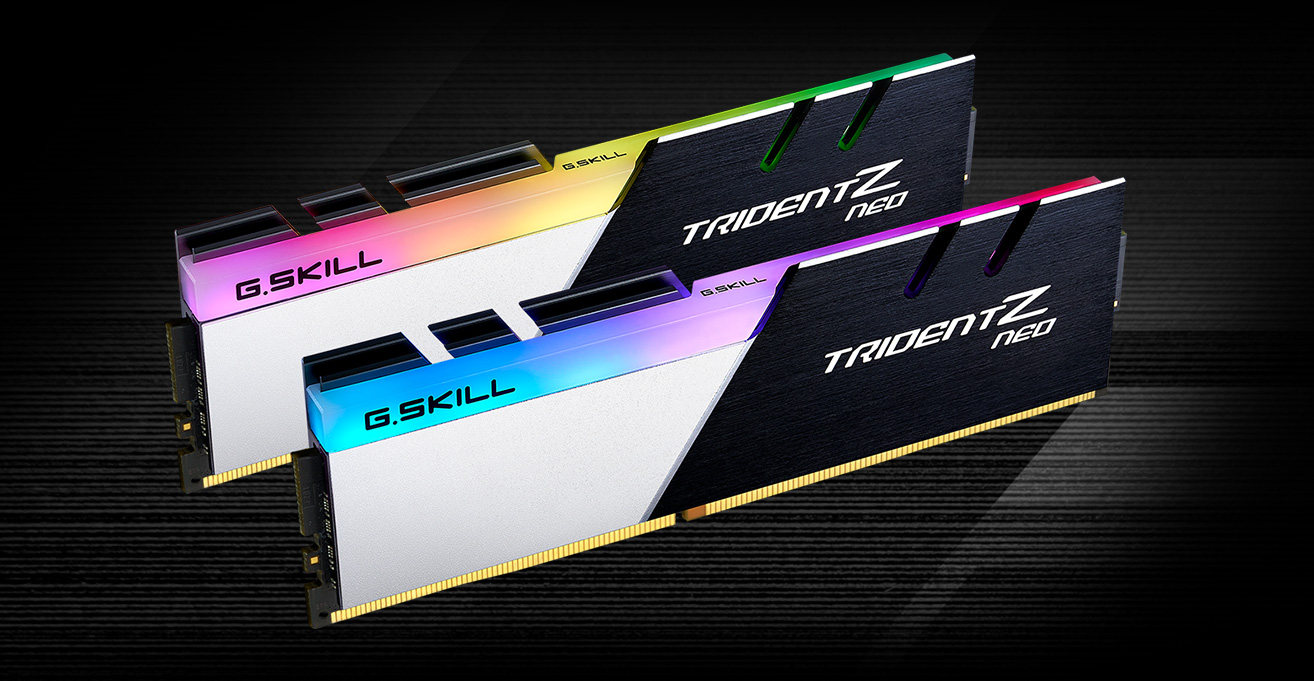 Two G.Skill Trident Z Neo Memory Sticks Angled Down to the Right