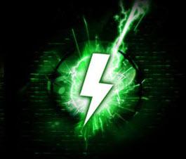 a green thunderbolt