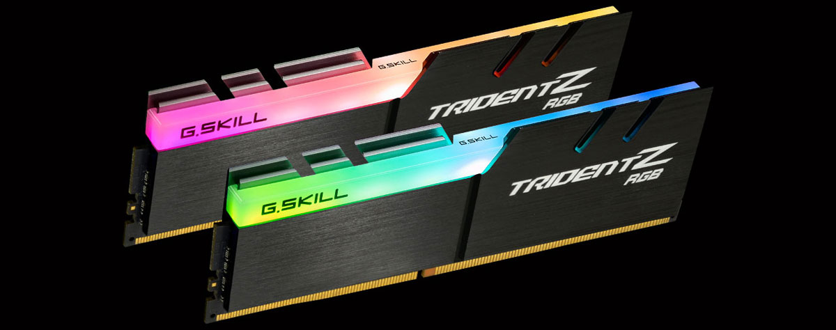 Front view of two Trident Z modules in standing position, facing slightly to the right, each glowing different colors on the RGB strip