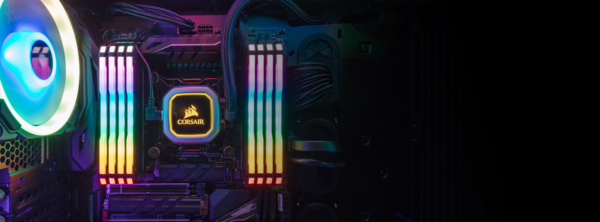 A top view of a complete build, which features eight CORSAIR Vengeance RGB Pro RAMs