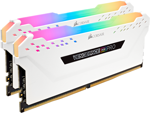 Two White CORSAIR Vengeance RGB Pro Series Desktop Memory Sticks Angled Down to the Right
