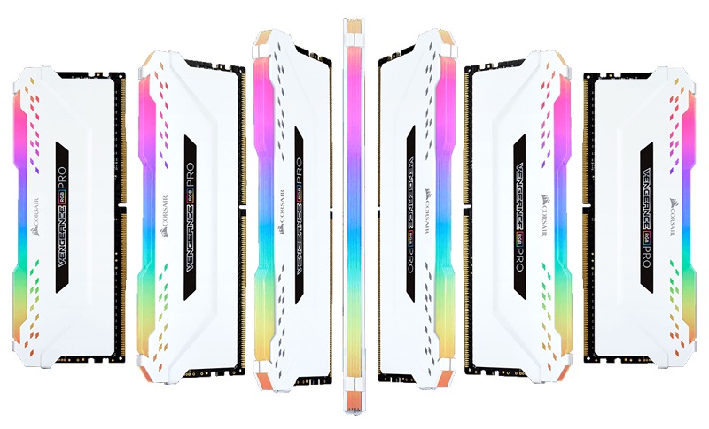 A wave of white Corsair Vengeance RGB Memory Stick Waving from Left to Right