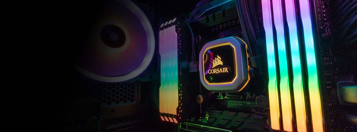 RGB-Lit Memory Installed on a Motherboard that has a Corsair Water Cooling CPU Block